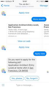 jobo the job hunter bot apply for jobs via messenger or directly good luck
