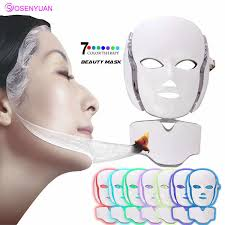 <b>LED Facial Mask Photon</b> Light Energy Therapy Lamp Facial Care ...
