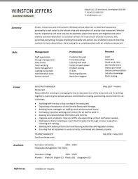Asst Restaurant Manager Resume Sample