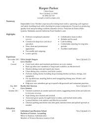 crew member resume sample food server job description