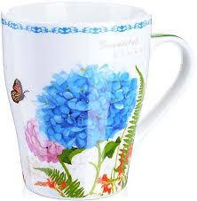 """<b>Кружка Loraine</b> """"<b>Цветы</b>"""", цвет: белый, голубой, сиреневый, <b>340</b> ..."""