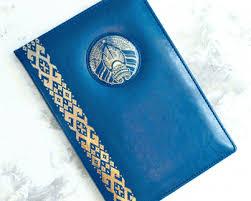 Папка поздравительная синяя кожаная. с нашивкой. <b>герб и</b> ...