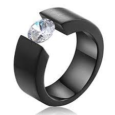 TUJI <b>Black</b> Gold Silver Color <b>Round CZ Zircon</b> Ring for Men Women ...