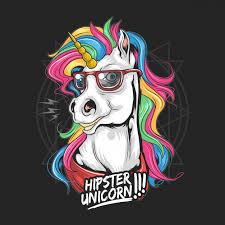 Единственный хипстер использует стекла радуги волос полного ...