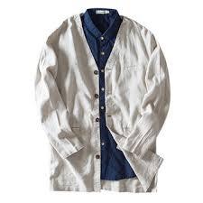 <b>vintage</b> linen <b>v neck</b> plain color casual comfy <b>autumn</b> coats at ...