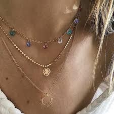 <b>Fashion Boho</b> Choker Necklace Crystal Chain Sun Moon Pendant ...