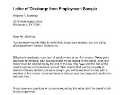 letter of dischargeletter of discharge from employment sample