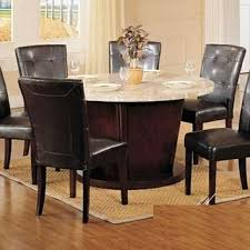 round white marble dining table:  pc britney white marble round top dining table set with brown leather like vinyl upholstered