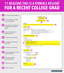 terrible resume for a recent college grad business insider terrible resume for a recent college grad