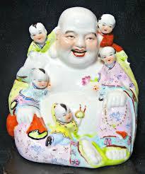 <b>Happy Buddha Statue</b> Fertility Luck Porcelain 5 Children Wooden ...