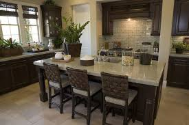 countertops dark wood kitchen islands table: large l shaped kitchen with a long and deep kitchen island one side of