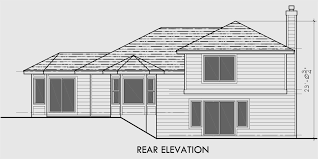 Split Level House Plans  House Plans For Sloping Lots  BedroomHouse side elevation view for Split level house plans  house plans for sloping lots