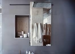 sliding bathroom mirror:  bathroom sliding mirror wall pocket by heath amp the blt boys