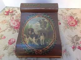 <b>Vintage Hand Painted</b> Wood Box With Dogs on Front Lid Tolware ...