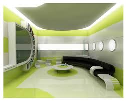 green black mesmerizing: curving black sofa with round green white table placed on the same color floor and wall
