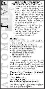 has an immediate opening available for automotive career advisor resume