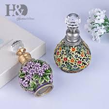 H&D 6ML <b>Vintage Hand painted</b> Flowers Perfume Bottle Empty ...