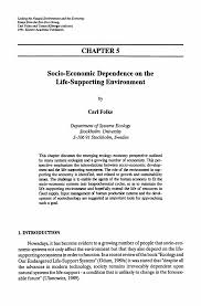 socio economic dependence on the life supporting environment linking the natural environment and the economy essays from the eco eco group