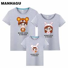 <b>MANHAGU Brand 1piece family</b> t shirt mom and daughter father son ...