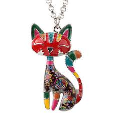 <b>Bonsny Statement Enamel Alloy</b> Chain Cat Necklace Pendant For ...