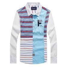 <b>Striped Men</b> Fashion Casual Long Sleeved <b>Faconnable</b> shirt Slim Fit ...
