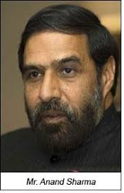 At the invitation of the Commerce & Industry Minister of India Shri Anand Sharma