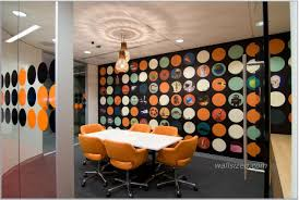 creative office design with rectangular white table orange chairs and black wall colorful design home awesome black white office design