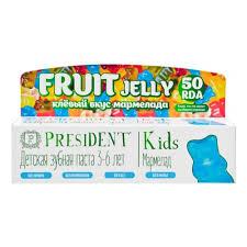 <b>Детская</b> зубная паста <b>PRESIDENT</b> KIDS Fruit Jelly, от 3 до 6 лет ...
