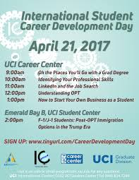 career development workshop series uci international center the career development workshops provide international students helpful job search information important considerations that affect their visas