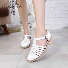 <b>Women genuine Leather oxford</b> Sandals hollow shoes women ...