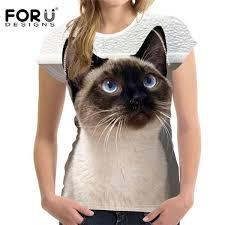 <b>FORUDESIGNS Women's</b> Cute Siamese Cat <b>T</b>-<b>shirt</b> | <b>T shirts</b> for ...