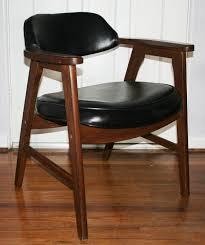 vintage mid century modern mad men eames era gunlocke walnut office den chair black chair mid century office
