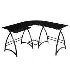 walker edison l shaped black glass computer desk home furniture home office furniture desks hutches black glass top corner