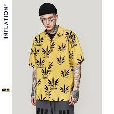 INFLATION Leaf <b>Yellow Shirt 2019</b> Fashion <b>Mens</b> Short Sleeve ...