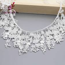 Lucia crafts 1y/lot <b>13cm</b> White Tassels <b>Embroidered Lace</b> Fabric ...