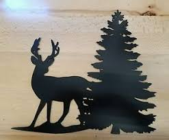 tree scene metal wall art: image is loading whitetail deer with pine tree scene metal wall