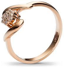 Эстет <b>Кольцо с 7 бриллиантами</b> из красного золота 65К610203 ...