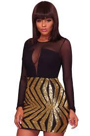 <b>Sexy Black Sheer Mesh</b> Long Sleeve Gold Sequin Club Dress ...