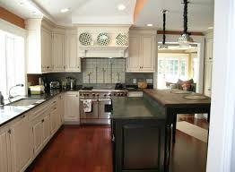 colored kitchen cabinets dark island