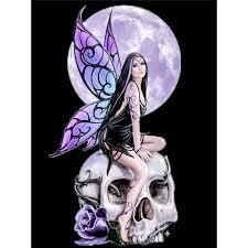 Full 5D DIY <b>Diamond</b> Painting Cross Stitch <b>Moon Skull</b> Girl Elf ...