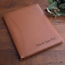 personalized executive leather portfolio   tan   office giftsexecutive tan leather personalized portfolio