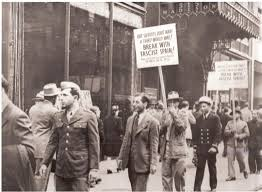 abraham lincoln brigade spanish civil war history and education hy wallach in uniform first person on left hand side on american committee for spanish dom picket line photo courtesy nancy wallach