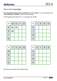 The 6 × to 10 × times tables