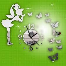 Tonsee(TM) <b>1PC</b> Cool Creative <b>Butterfly Fairy</b> DIY Mirror Wall Clock ...