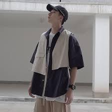 <b>Summer</b> New <b>Tooling</b> Wind Shirt <b>Men</b> Fashion Contrast Color ...