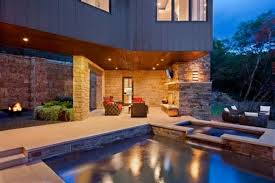 exterior excellent rustic style with beautiful lighting pool