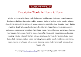 descriptive words for house and home descriptive words list of home descriptive words