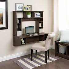 m black glaze oak wood wall compuetr table with bookshelf combined with cream leather upholstered armless chair on two tone shag rug black shag rug home office