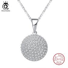 <b>ORSA JEWELS</b> Real <b>S925 Sterling</b> Silver Neckalce With Ball Shape ...