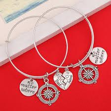 <b>2pc No Matter Where</b> Compass Charm <b>BFF</b> Friendship Pendant ...